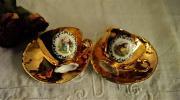 ドイツ アンティーク Bavaria 中世の貴婦人画 金彩 ゴールド カップ&ソーサー 2客