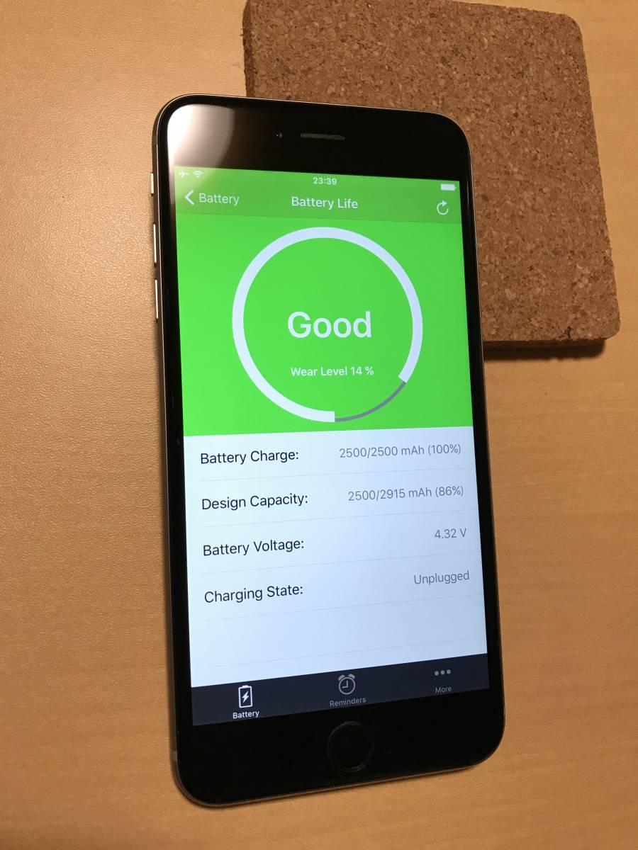 中古 iPhone6 Plus au スペースグレー 16GB ネットワーク制限 ◯判定 A1524_画像3