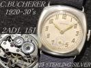 1920-30's アンティーク 925スターリングシルバー C.BUCHERER ブッフェラー 2ADJ. 15石 手巻腕時計 / ブッヘラー ブヘラー※未使用品風防!