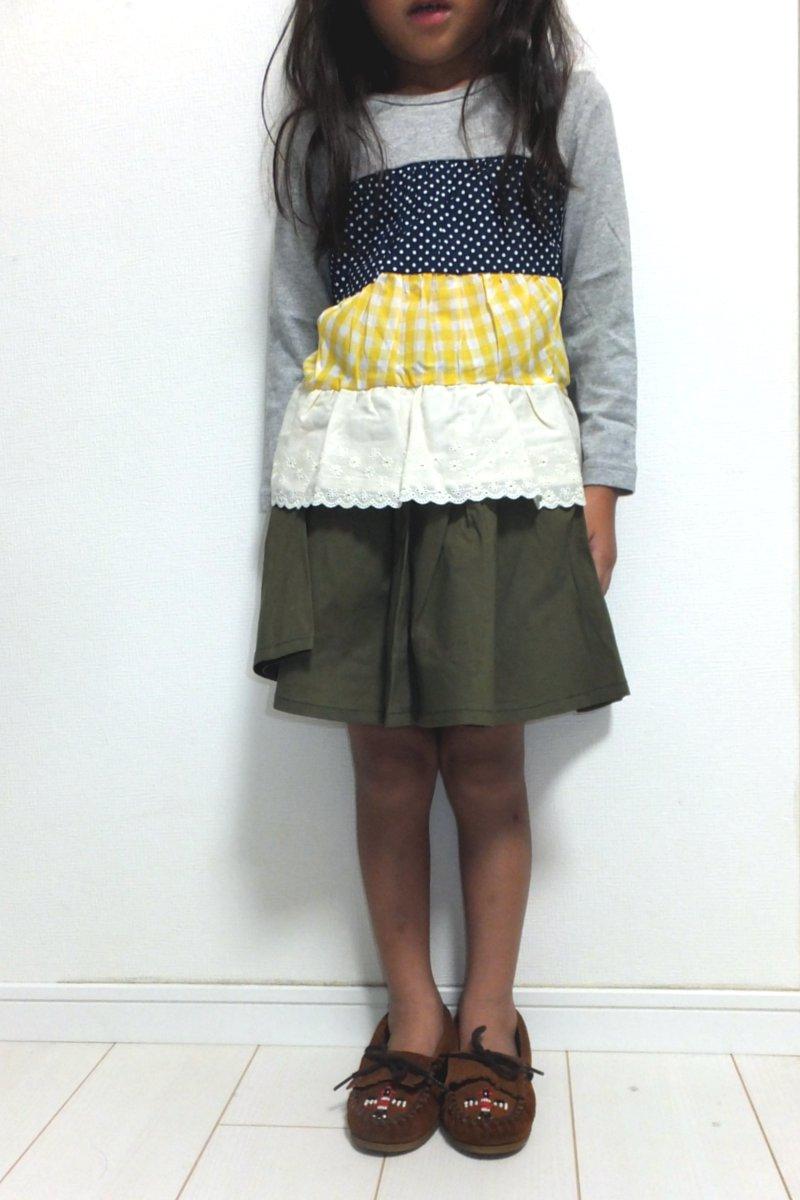 ★新品・格安★ キッズ ターカーミニ 4分丈ラップスカート キュロット(110cm) オリーブグリーン_画像2