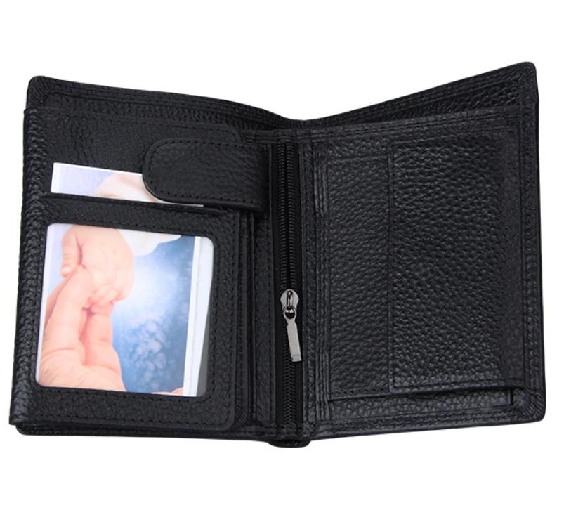 二つ折り 三つ折り 財布 本革 牛革 メンズ 大容量 小銭入 カード10枚 黒色 即決 多機能  二つ折り財布 送料無料_画像3