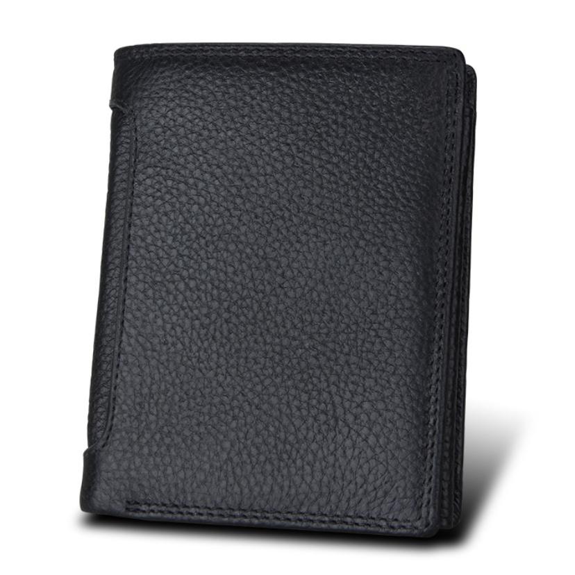 二つ折り 三つ折り 財布 本革 牛革 メンズ 大容量 小銭入 カード10枚 黒色 即決 多機能  二つ折り財布 送料無料_画像1
