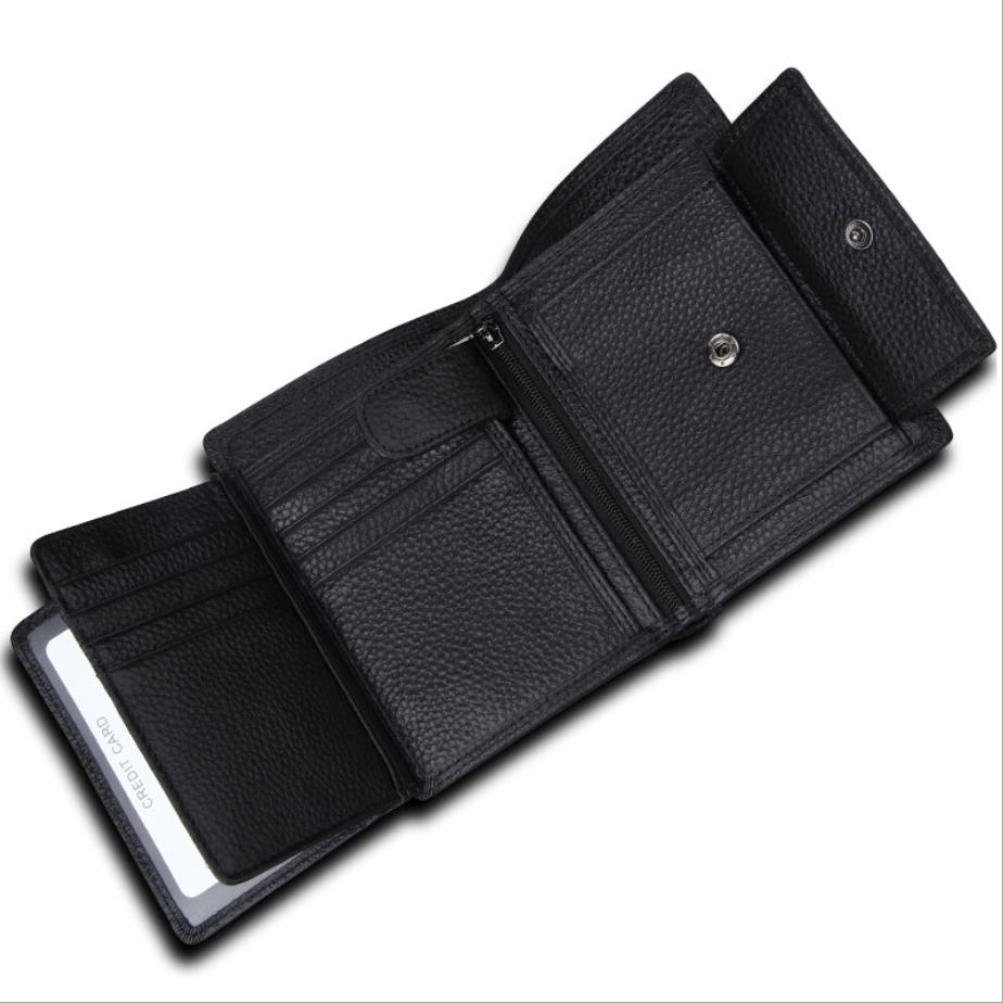 二つ折り 三つ折り 財布 本革 牛革 メンズ 大容量 小銭入 カード10枚 黒色 即決 多機能  二つ折り財布 送料無料_画像2