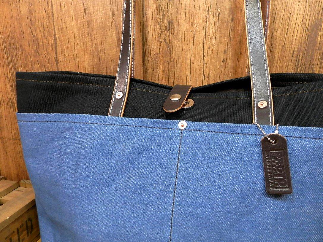 【受注生産・送料無料】7つポケット!本革×帆布×デニムの大型トートバッグ!◎キャンバス日本製レザー黒ブラック革U52_画像2