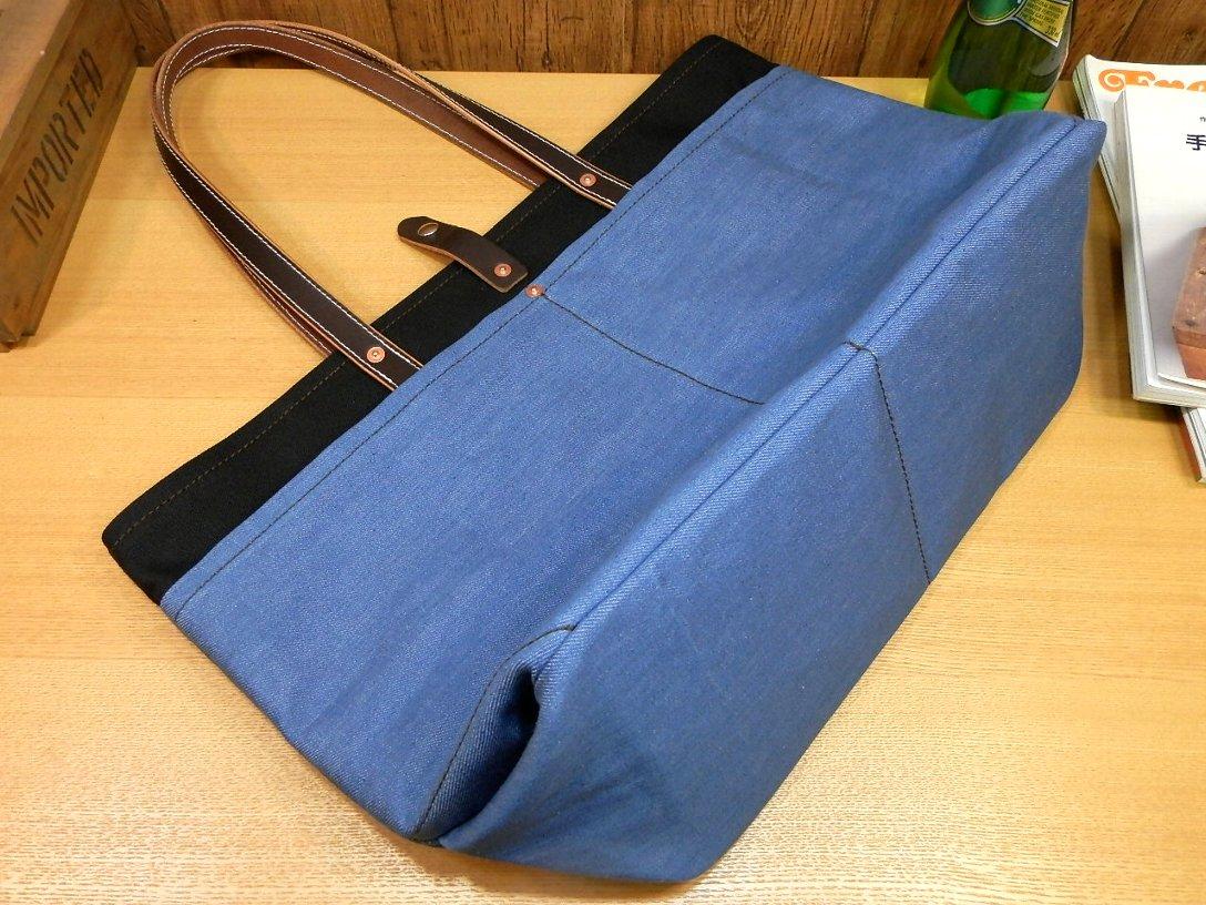 【受注生産・送料無料】7つポケット!本革×帆布×デニムの大型トートバッグ!◎キャンバス日本製レザー黒ブラック革U52_画像3