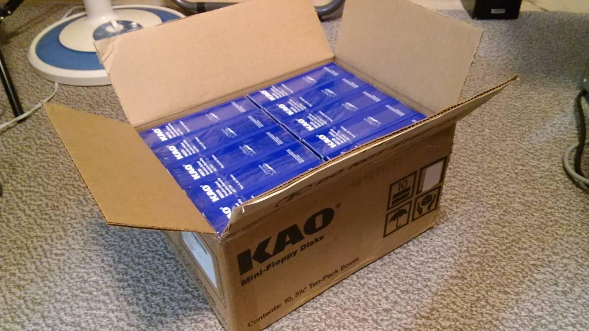 【未開封・100枚】 KAO 花王製 5インチ2Dフロッピーディスク10枚入×10箱 MD2D 5.25インチ PC-8801・PC-9801・SHARP X1など