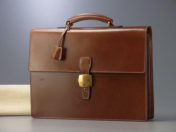 P7144英国製*ダンヒル/dunhill*ブライドルレザーブリーフケース/ビジネスバッグ/書類鞄/