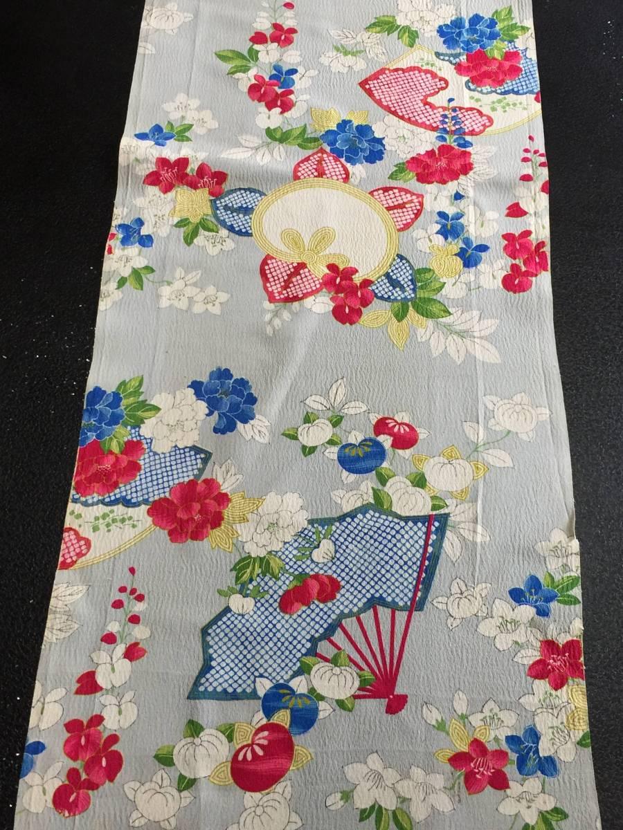 古布正絹*錦紗(扇に四季花、308)*手作り*市松人形