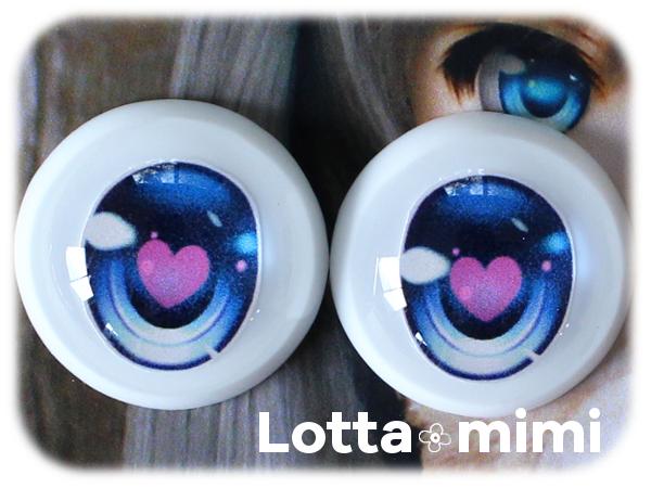 ◆Lotta mimi◆ レジンアイ 22mm相当 マジョリカブルーハート_画像2
