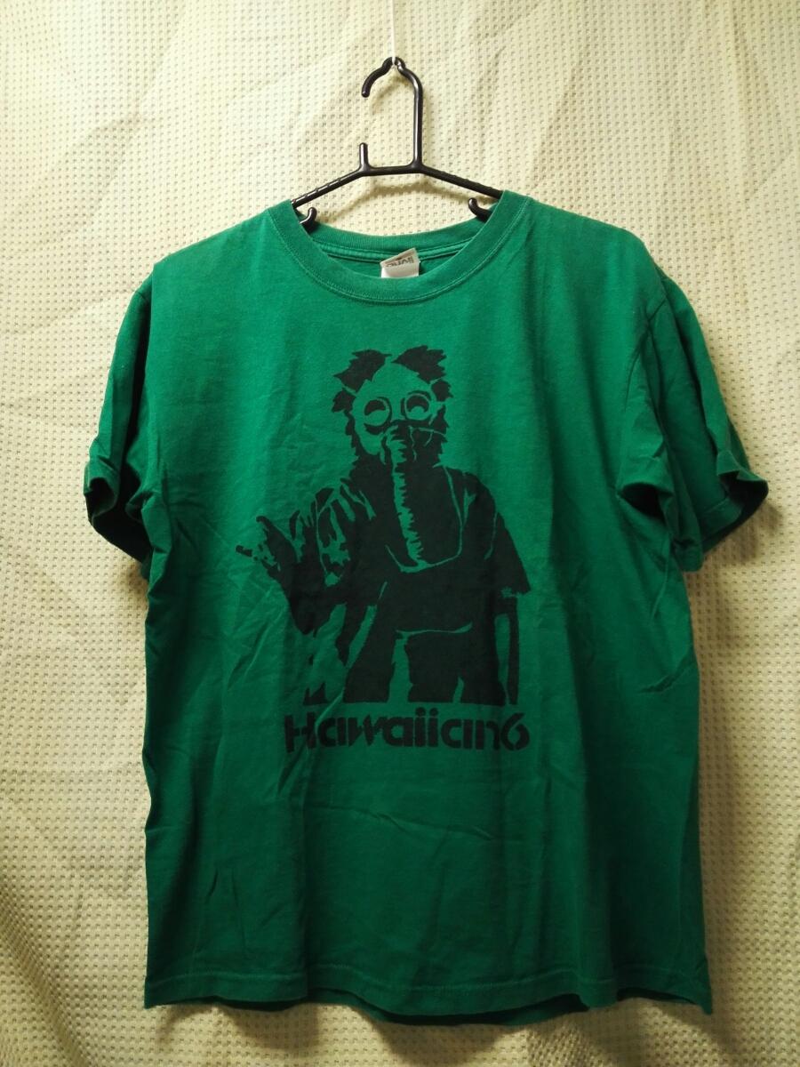 09 バンドTシャツ HAWAIIAN6 ハワイアン6 ガスマスク グリーン