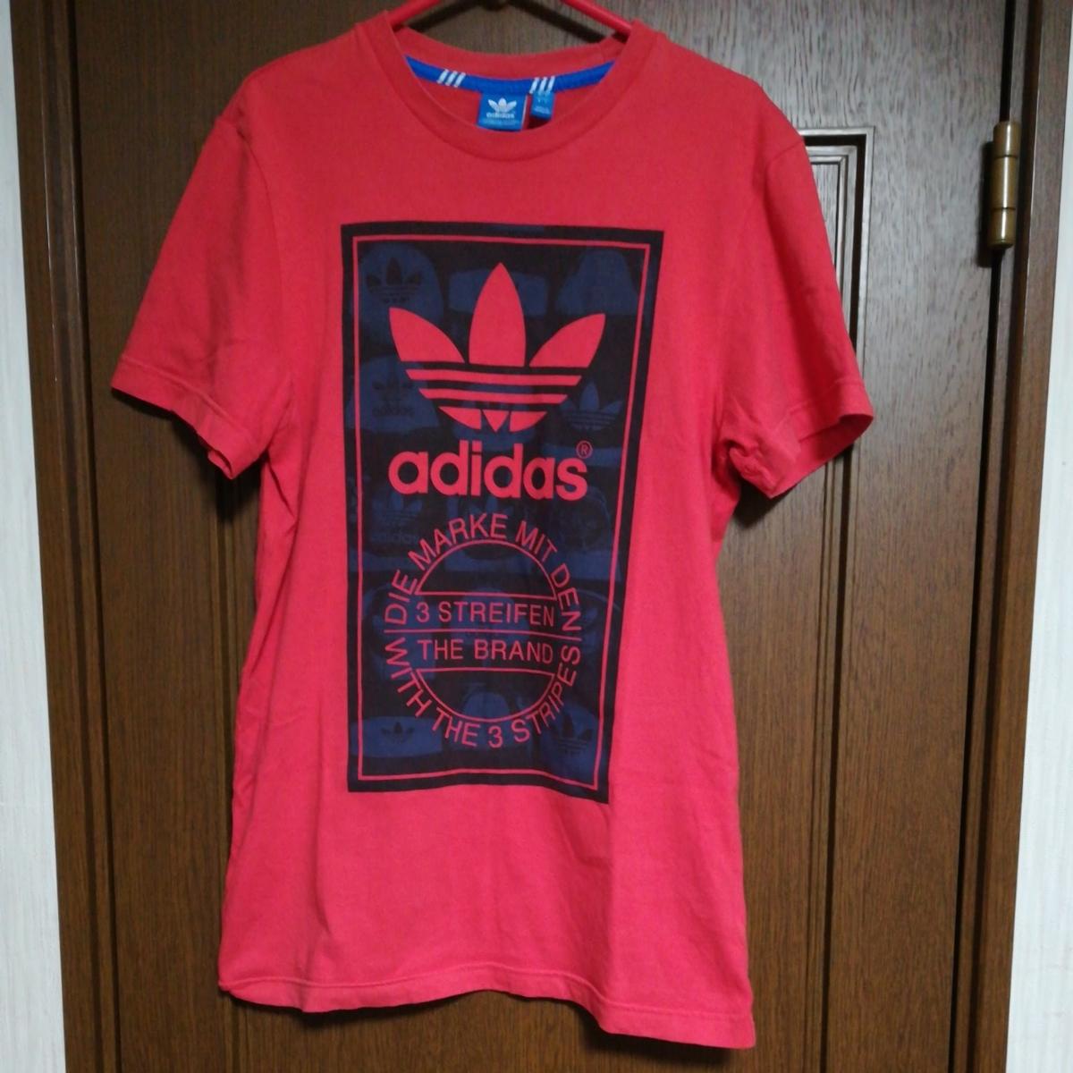 アディダス オリジナルス メンズ Tシャツ 半袖 Mサイズ 中古 レッド 赤 スポーツ ファッション ブランド ロゴ