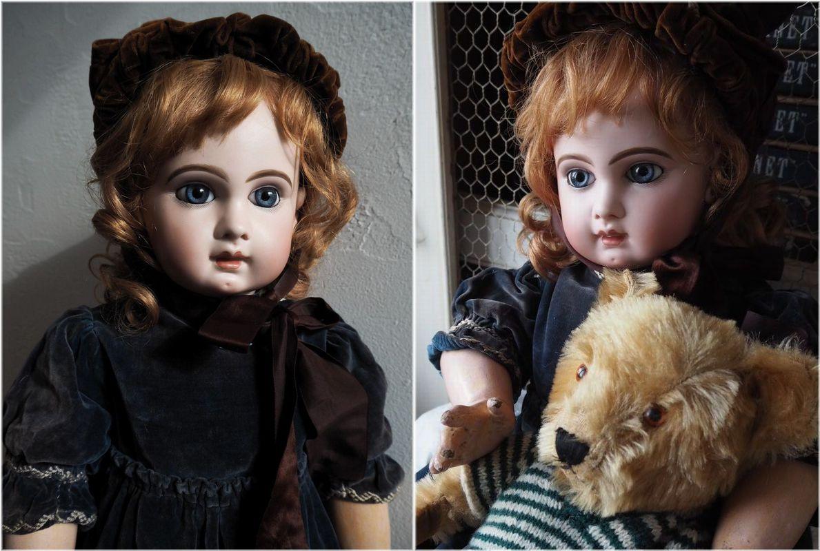 希少 Depose EJ 13号 ジュモー ドール お着替えたくさん 美しい青い瞳の Jumeau アンティ