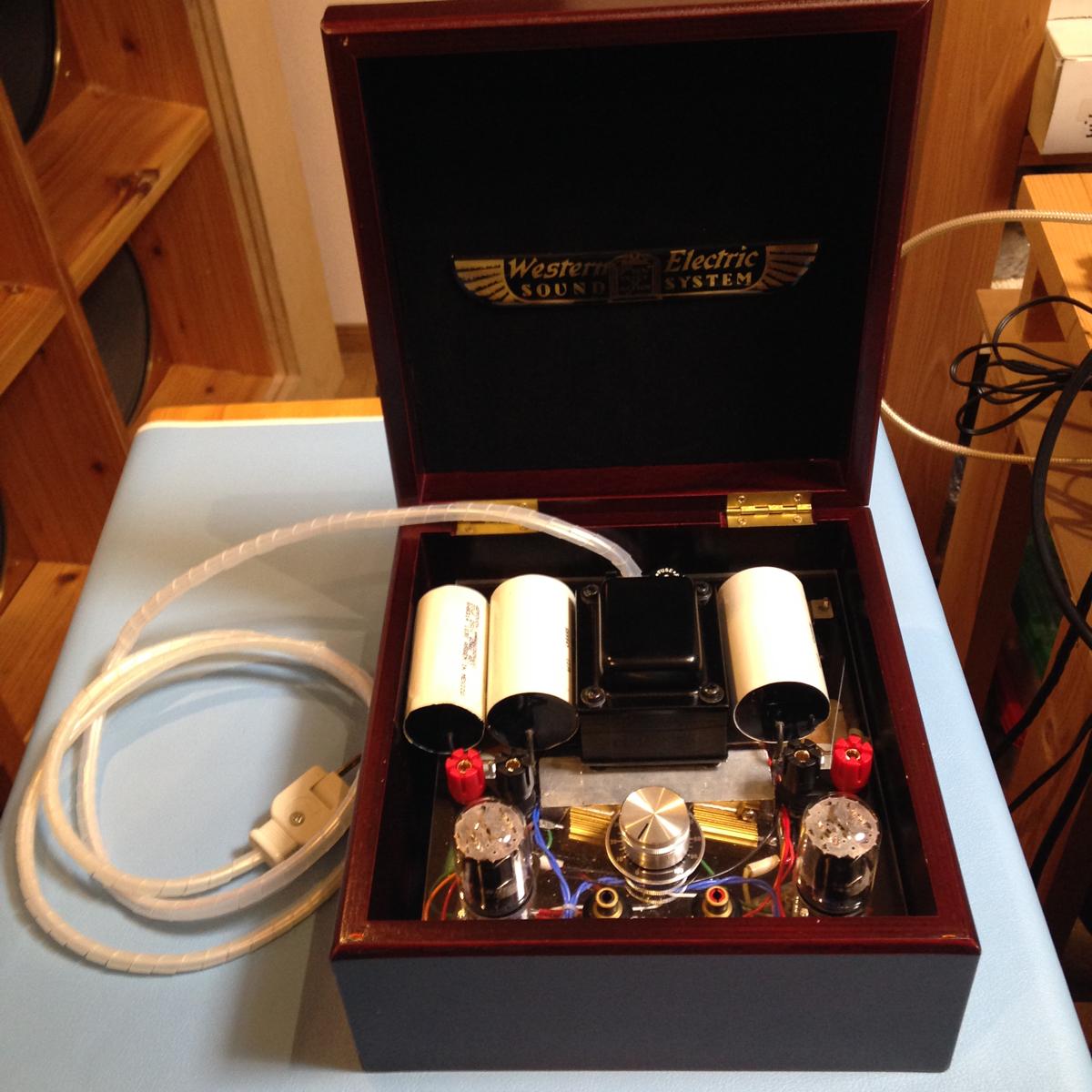 自作真空管アンプ ウエスタン製の箱付き