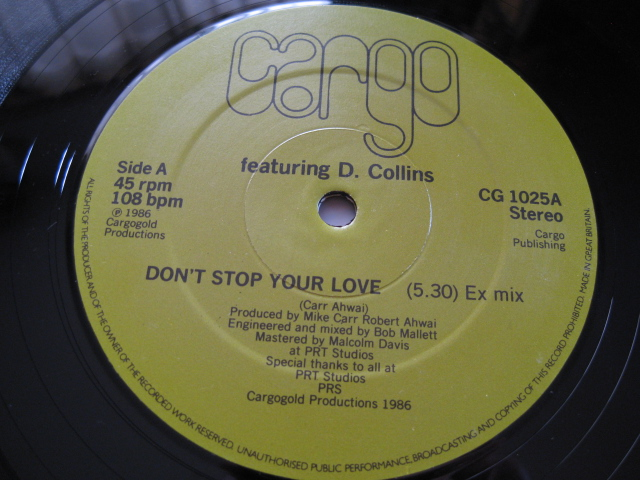 MIKE CARR/CARGO♪Don't Stop Your Love◇Robert Ahwai/Dave Collins◇Soul/Jazz/Funk◇'86年英orig盤12inch!_画像3