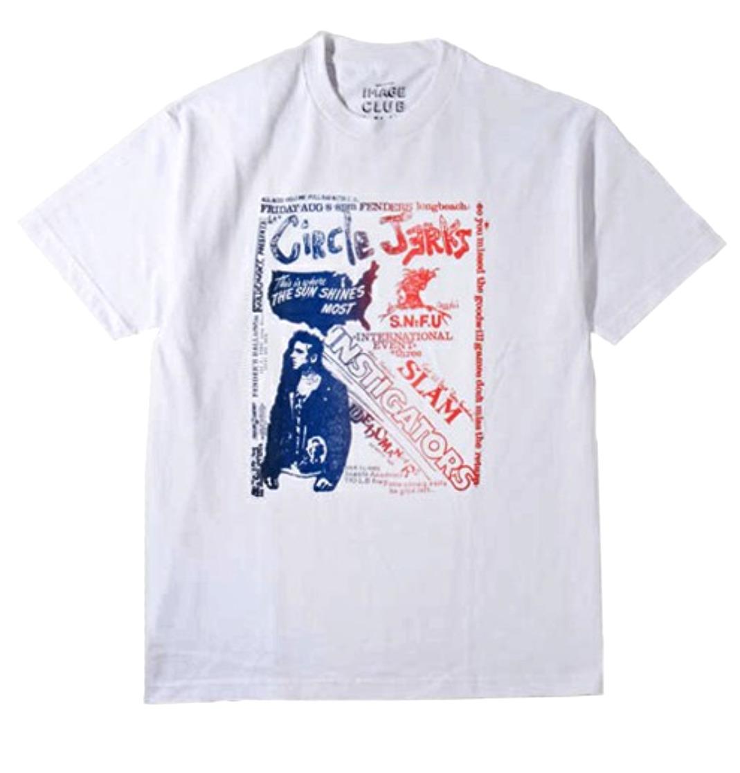 新品BLACK FLAG.Circle JerksのキースモリスによるブランドIMAGE CLUB LTD.アメリカンラグシー販売限定完売Circle JerksフライヤーTシャツ