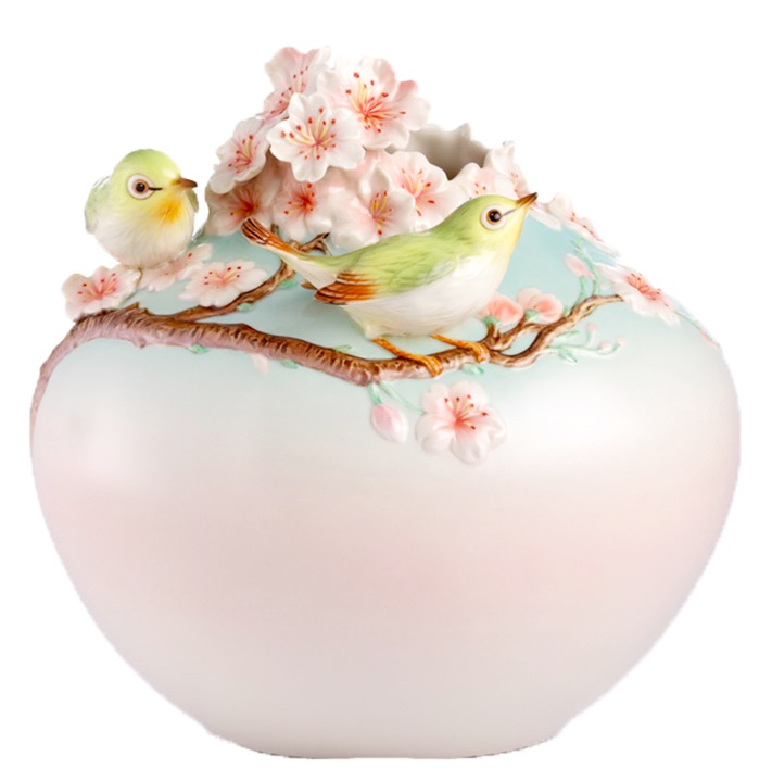 フランツコレクション ジャパニーズホワイトアイ & チェリーブロッサム ベース FZ02942 法藍瓷 美好櫻園 綠眼瓷瓶 メジロ 目白 サクラ 桜