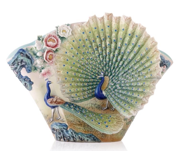 フランツコレクション 15周年故宮系列 FZ03507 台灣法藍瓷 榮耀開屏 孔雀花瓶 限定988PCS