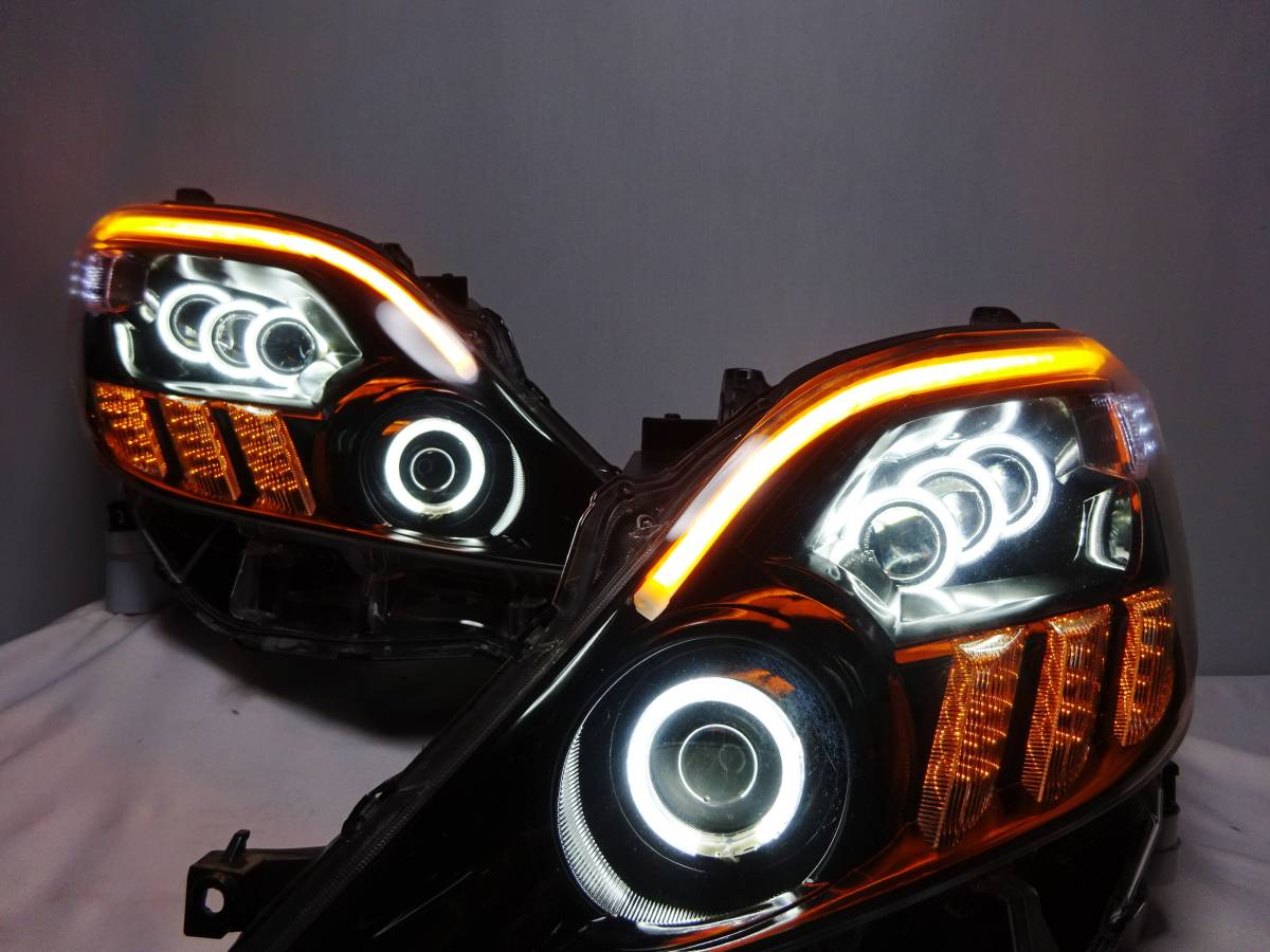 アルファード 20 LS600 CCFL イカリング プロジェクター ヘッドライト ヘッドランプ ワンオフ カスタム 加工品 シリコンLEDライン