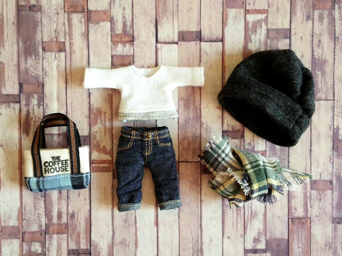 オビツ11 お洋服 A ◆ シンプルスタイル 重ね着風カットソー&ロールアップデニム◆オビツろいど/服_画像3