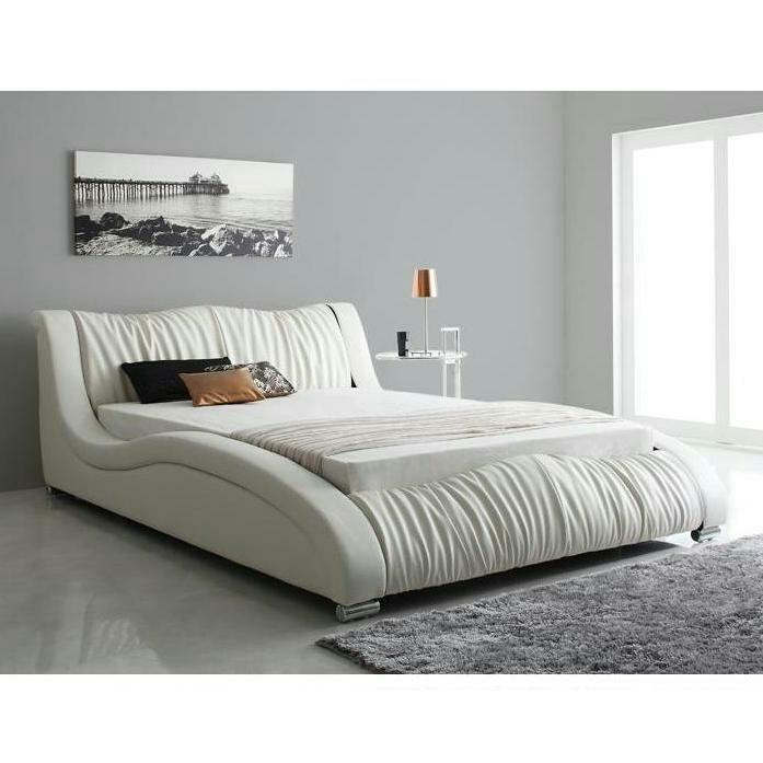 クイーンベッド 高級レザーベッド ホワイト マットレス付き デザイナーズベッド ベッド クイーン