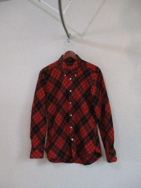 RELLOY赤オレンジ×黒チェック長袖ネルシャツ(USED)90217_画像1