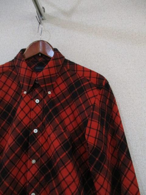RELLOY赤オレンジ×黒チェック長袖ネルシャツ(USED)90217_画像3