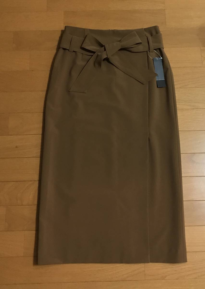 新品!B7ベーセッツ 大人キャメルカラー リボン付きラップタイトスカート ドゥーズィエムクラスガリャルダガランテウィムガゼット好きに