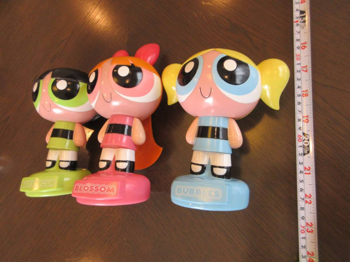パワーパフガールズ ソフビ貯金箱フィギュア/ブロッサム、バターカップ、バブルスの3人/中古ソフビ人形 グッズの画像