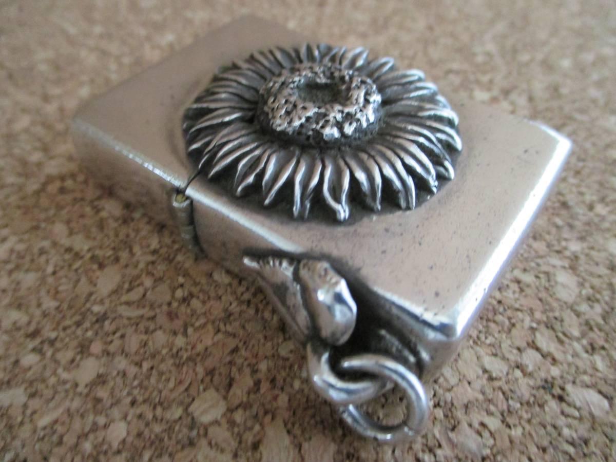 ZIPPO 『Sunflower Sterling Silver ひまわり スターリングシルバー 925』2000年製造 純銀 ゴッホ名作 オイルライター ジッポ 廃版激レア