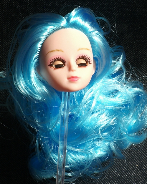 4482e072a64 1/6 doll head custom head 3D EYE use I moveable .. eyes light blue B ...
