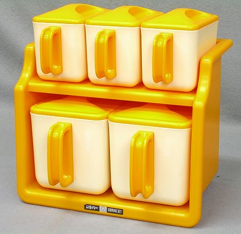 【Nさき26】レトロポップ シルバー クッキングセット 調味料ケース オレンジ 2段  調味料入_画像2