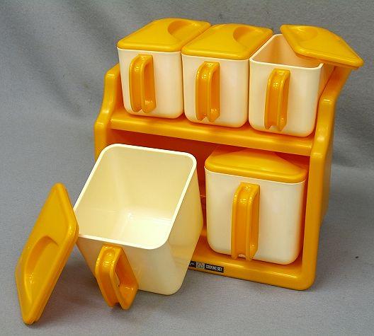 【Nさき26】レトロポップ シルバー クッキングセット 調味料ケース オレンジ 2段  調味料入_画像1