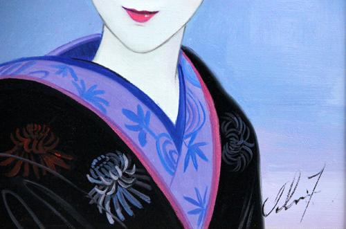 """■ 鶴田一郎 ■ Hair ornaments """"美人画"""" ■ 6号・肉筆_画像3"""