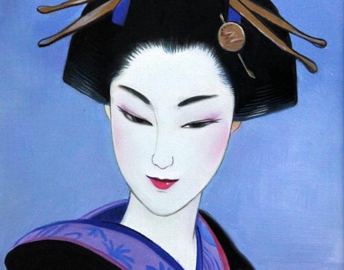 """■ 鶴田一郎 ■ Hair ornaments """"美人画"""" ■ 6号・肉筆_画像2"""