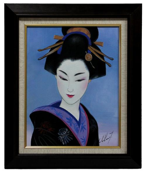 "■ 鶴田一郎 ■ Hair ornaments ""美人画"" ■ 6号・肉筆"