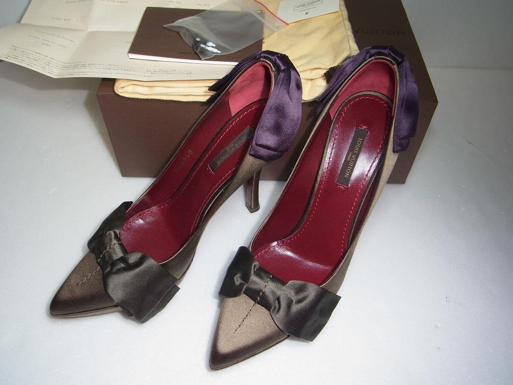 新品未使用 ルイ ヴィトン LOUIS VUITTON パンプス ハイヒール サテン リボン ヒール 36 1/2 靴 シューズ LV 93000円_画像1