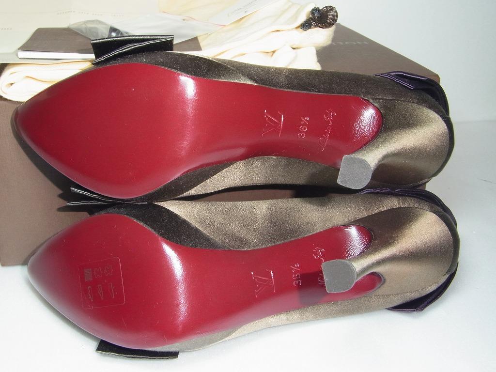新品未使用 ルイ ヴィトン LOUIS VUITTON パンプス ハイヒール サテン リボン ヒール 36 1/2 靴 シューズ LV 93000円_画像2