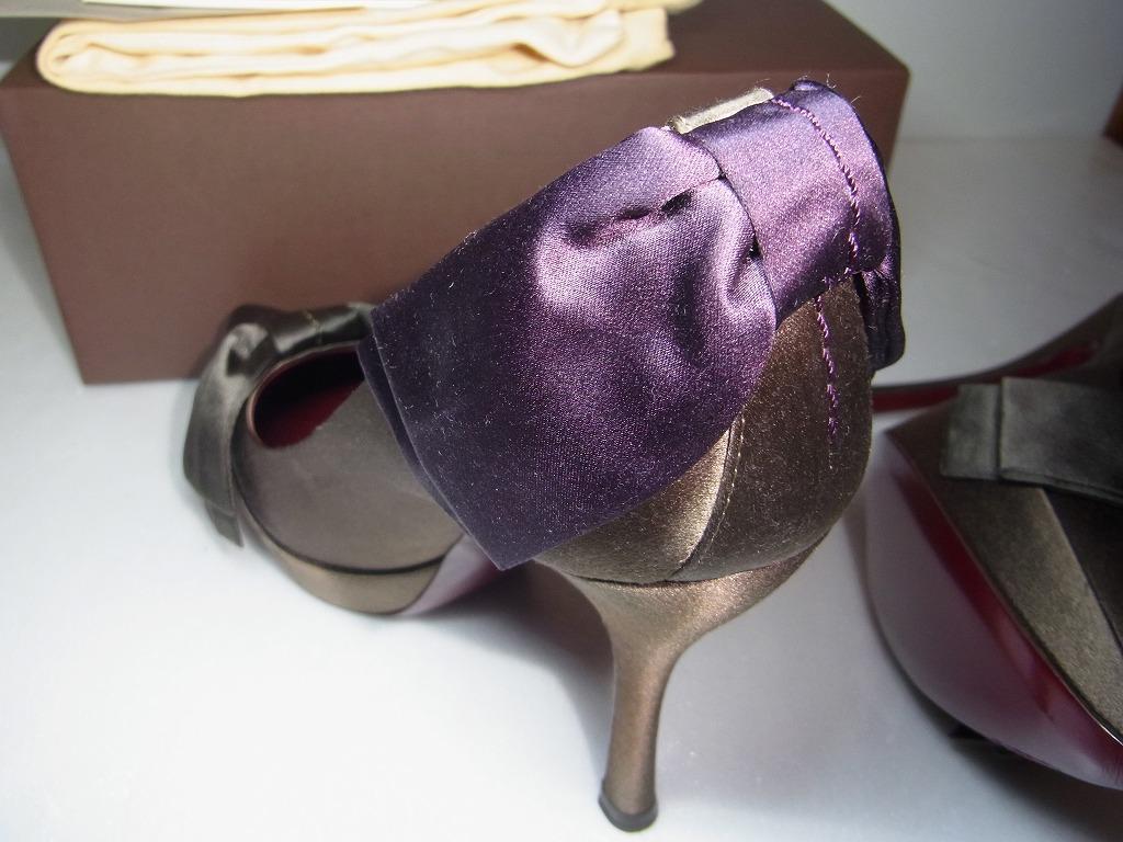 新品未使用 ルイ ヴィトン LOUIS VUITTON パンプス ハイヒール サテン リボン ヒール 36 1/2 靴 シューズ LV 93000円_画像3