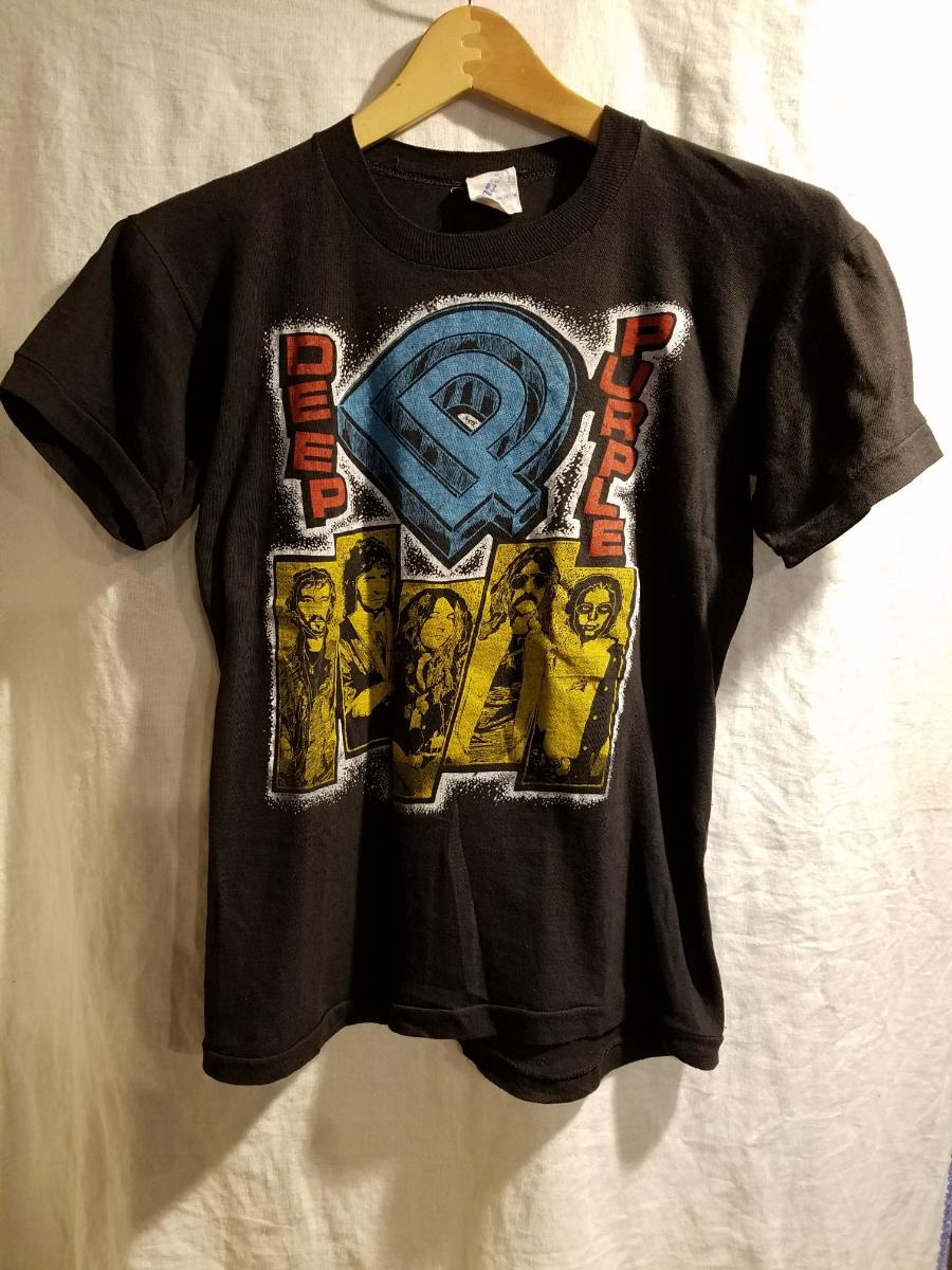 80s ビンテージ DEEP PURPLE Tシャツ パキ綿 M表記 ディープパープル バンド ロック VINTAGE ヴィンテージ 検70s
