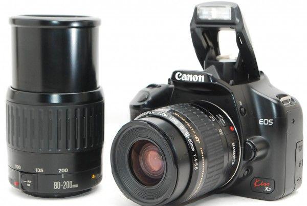 9040 美品 キャノン Canon EOS kiss x2 レンズ2本 35-80mm 80-200mm 動作良好 初期不良100%返品OK 本日特価 15,980円~