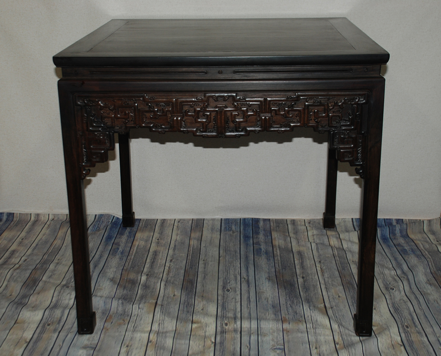 中国美術・唐木家具・唐木花梨天然木彫刻食卓/テーブル 幅88㎝