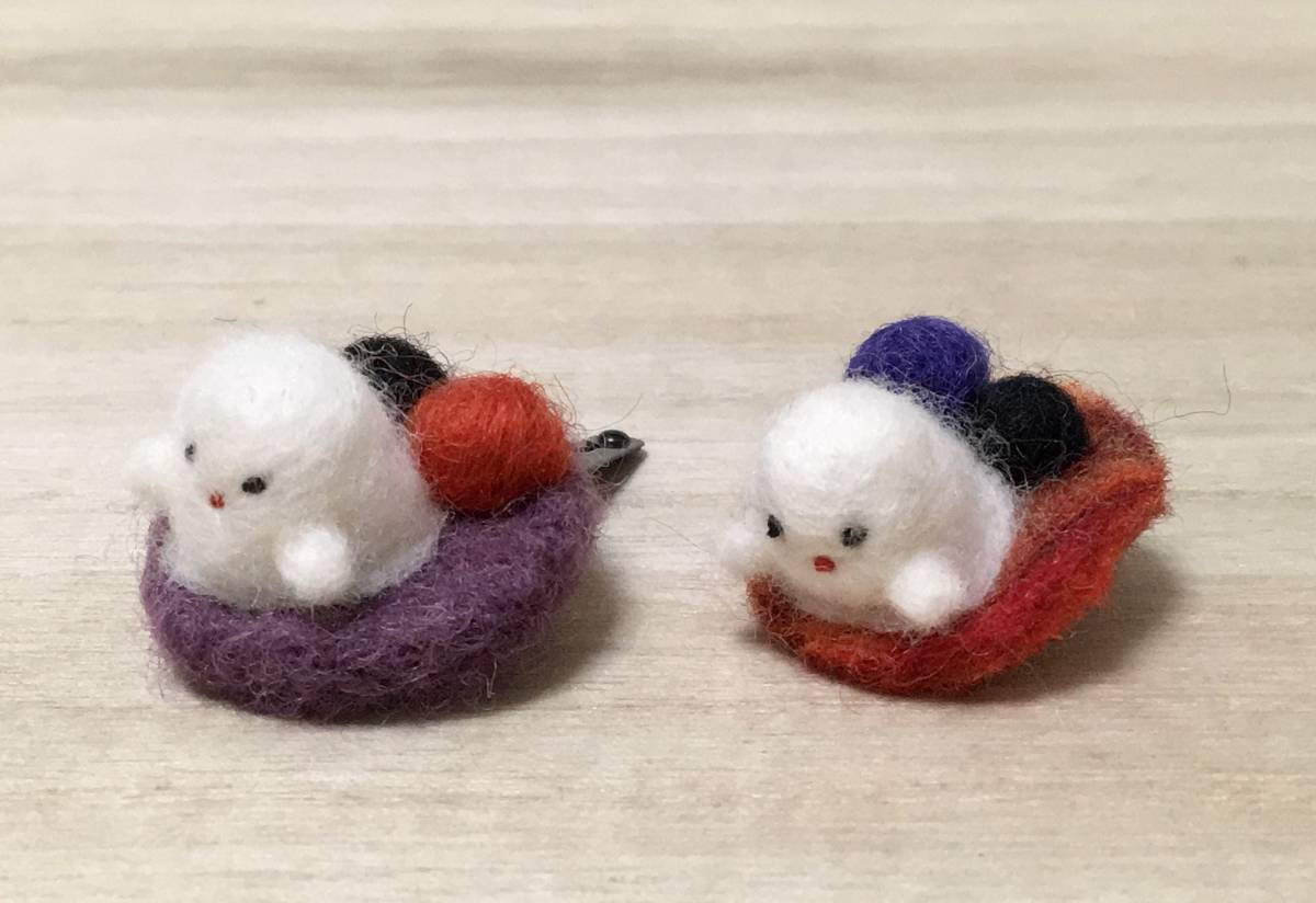 Halloween ... patch n2 piece collection hair accessory pin felt hand made 2 orange &. purple Halo we n