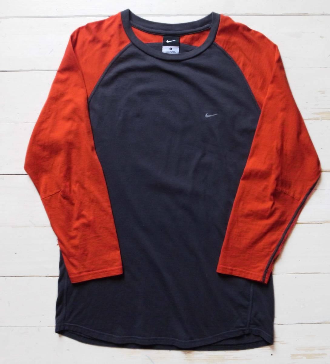 美品GYAKUSOU NIKELAB × UNDERCOVER 長袖 切り返しランニングシャツ L 逆走 アンダーカバー グレー×赤 半袖 カットソー_画像2