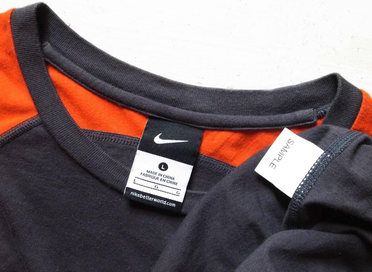 美品GYAKUSOU NIKELAB × UNDERCOVER 長袖 切り返しランニングシャツ L 逆走 アンダーカバー グレー×赤 半袖 カットソー_画像3
