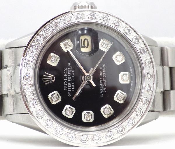 極美品 ロレックス デイトジャスト 10Pダイヤ 黒 ミラーブラック ダイヤベゼル OH済 新品仕上済 レディース Ref.6517 プレジデント ROLEX_画像2