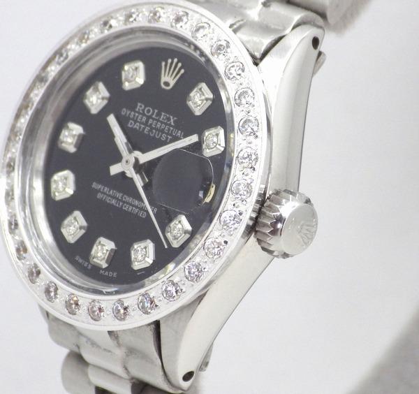 極美品 ロレックス デイトジャスト 10Pダイヤ 黒 ミラーブラック ダイヤベゼル OH済 新品仕上済 レディース Ref.6517 プレジデント ROLEX_画像3
