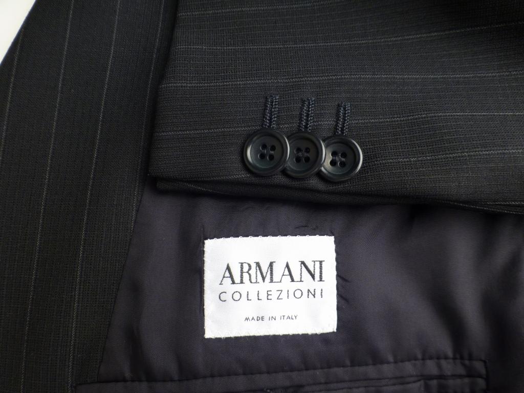 ◆ARMANI アルマーニ スーツ 黒ストライプ 52R 美品 背が高く,やや恰幅良_画像2