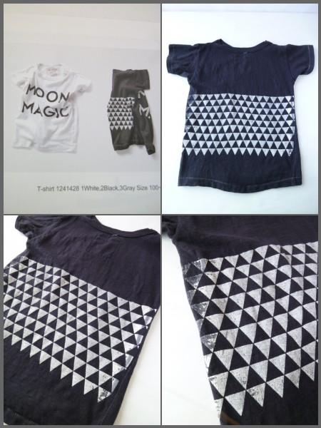 GO TO HOLLYWOOD ロゴ 三角模様 Tシャツ 120 ブラック 黒 デニム&ダンガリー_画像2