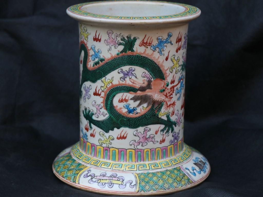 貴重 稀少珍品 中国古磁 斗彩 祥雲龍鳳紋 筆筒 筆立 古文房具 書道品 在銘 館藏品