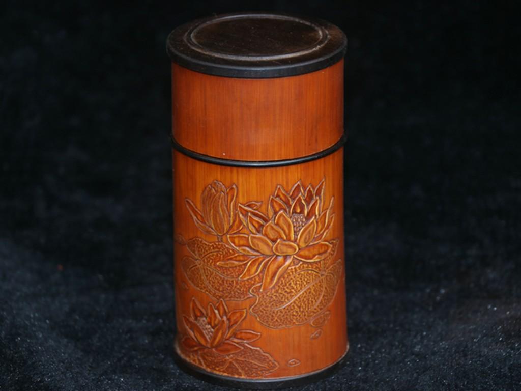 稀少珍品 貴重 黑檀木製 竹黄象嵌 花卉紋 筆筒 筆立 茶葉缶 年代物